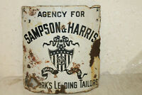 ANTIQUE ORIGINAL SAMPSON HARRIS TAILORS NEW YORK CURVED CORNER PORCELAIN SIGN