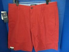 """CHAPS~Red Leaf WASHED TWILL CHINO FLAT FRONT CASUAL SHORTS~Mens 36~Inseam 9""""~NWT"""