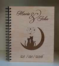 wood guest book personalized, love cats guest book, wood wedding photo album