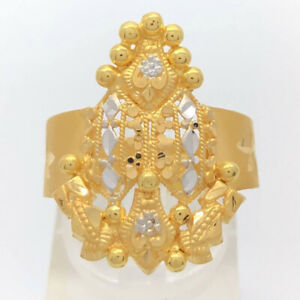 21K Solid Yellow and White Gold Ring Size 9