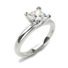 WOMEN 1.00 CARAT F VS1 PRINCESS CUT DIAMOND PLATINUM  RING NEW CERTIFIED