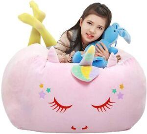 Unicorn Bean Bag Large Toy Storage Organiser Velvet Soft Light Pink (Cover Only)