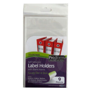 Pro Form 70916 Self Adhesive Label Holders with Inserts - Size 55mm x 102mm
