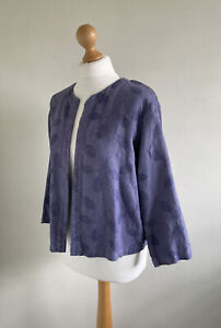 CUT LOOSE Fabulous Lavender Slub Linen Jacket With Embroidered Leaf Pattern XS