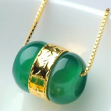 New 999 24k Yellow Gold With Natural Green Chalcedony Luck Bead Pendant 1pcs
