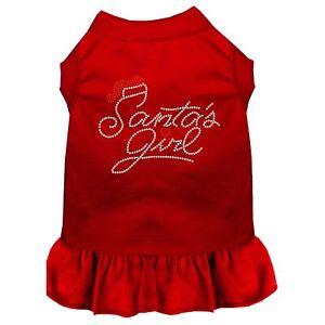 Santa's Girl Rhinestone Dog Dress Red