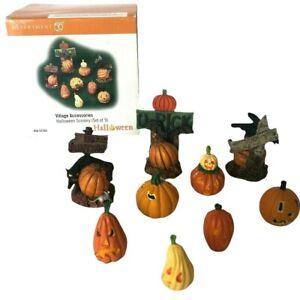 Dept 56 Halloween Scenery Set of 9 Village Accessories Pumpkins 56.53165 - GREAT