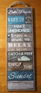 Lake People Log Cabin Lodge Boat Fishing Home Decor Rustic Wood Plank Sign NEW