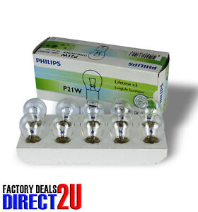 Genuine PHILIPS Eco Vision Indicator/Reversing Bulb 12V 21W (BA15s) - 10 Pack
