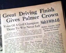 ARNOLD PALMER Wins U.S. Open Major Title GOLF Championship 1960 Old Newspaper