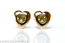 9ct Gold Small Peridot Heart Stud earrings Gift Boxed Made in UK