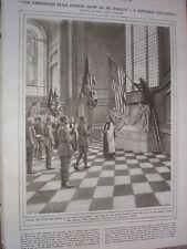 BANDIERA Americana sollevato St Paul's London 1917 Old print
