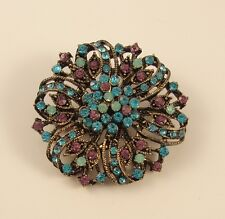 "2"" BRONZE TONE MULTI-COLOUR TURQUOISE DIAMANTE RHINESTONE CRYSTAL BROOCH"