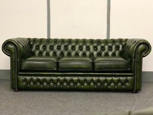 Chesterfield 3 Seater Sofa In Antique Green Leather (Brand New)