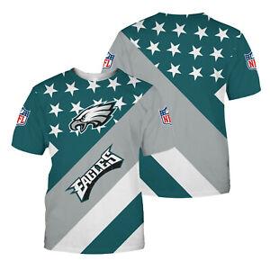 Philadelphia Eagles Men Summer T-shirt Short Sleeve Casual Loose Tee Tops S-5XL