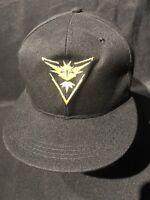 Pokemon GO TEAM VALOR Embroidered Snapback Black Yellow  Hat New  CAP