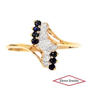 Estate Diamond Sapphire 10K Gold Cluster Bypass Ring NR