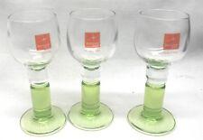Three Bormioli Green Stemmed Small Cordial Wine Barware Glasses