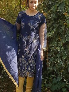 Designer Charizma Net Lined Full Embroidery Trouser Kameez Suit Chiffon Dupatta