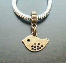 Baby Bird Animal Dangle Bead for European Style Charm Bracelet Bronze Tone