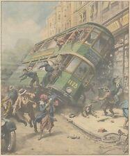 K0128 Glasgow - Tranvai contro una bottega tra i passanti - Stampa - 1931 print