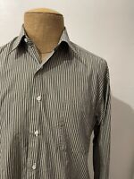 Borrelli Men's Dress Shirt Handmade for Neiman Marcus Gray Striped Size 15 1/2