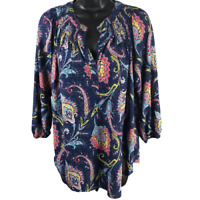 Cathy Daniels Multicolor Floral 3/4 Sleeve Stretchy Top Women's Size M