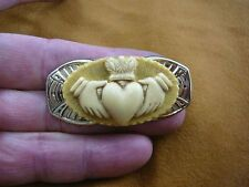 (CM38-89) traditional CLADDAGH heart hands tan + ivory CAMEO brass Pin Pendant