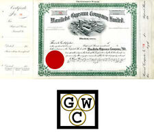 1914 Share Certificate for the Manitoba Gypsum Company (11838)