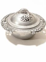Vintage Carson Pewter Grapevine Pattern Covered Sugar Bowl