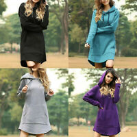 Hoodie Dress Sweater Pullover Hooded Long Sleeve Jumper Sweatshirt Women Tops