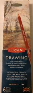 Derwent Professional Soft Drawing Pencils 6pc - Metal Tin Set & Sharpener -  New