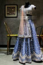 Blue Shine Silk Lehenga Lengha Choli Chunri Saree Sari Attractive Ghagra Maxi