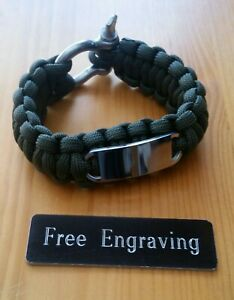 """FREE ENGRAVING (PERSONALIZED) Paracord Stainless Steel w/ Shackle Bracelet 6.5"""""""