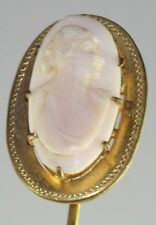 Antique Large Top Carved Pink Conch Shell Cameo Stickpin