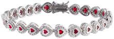 Sterling Silver 925 Womens Synthetic Ruby Stone Bracelet 7mm Wide