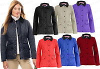 Women's Ladies Quilted Padded Zip Button Plus Size Jacket Coat 038 Top Size 8-20