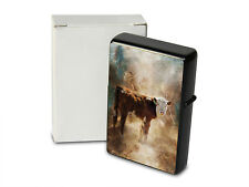 Pocket Windproof Lighter Brushed Oil Refillable Cow