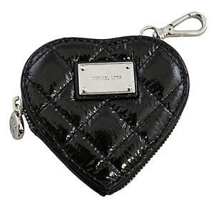 Brand New with Tag Michael Kors Hamilton Quilt Heart CoinPurse Black #32H02HQP1A