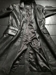 vintage 90's black leather single breasted crombie coat