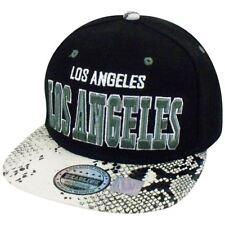 Los Angeles Animal White Snake Skin Pleather Snap Back Hat Cap Flat California