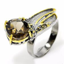Natural Smoky Quartz 925 Sterling Silver Ring Size 8.25