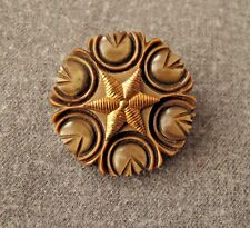 New listing Antique 1930'S Machine Age Golden Metal Starfish Brown Flower Galalith Button #A