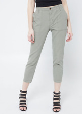 Rue 21 Olive Green Womens High Waist Skinny Utility Cargo Crop Pants 13/14 Jeans