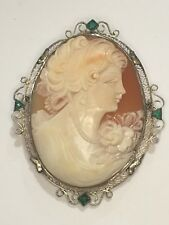 Vintage HUGE 14k White Gold Emerald Museum Cameo Brooch Pin Pendant