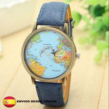 Reloj World Traveler mapa mundial avión retro vintage unisex color AZUL
