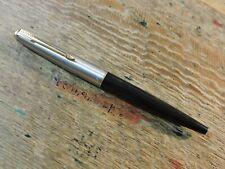 Vintage Black Stainless Steel Gold Trim PARKER 45 Fountain Pen Medium (M) nib US