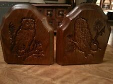 Vintage Owl Bookends Owls Wooden Wood Natural Home Books Library Decor