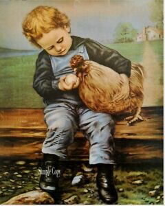 Boy and CHicken FULL picture  print  vintage prints