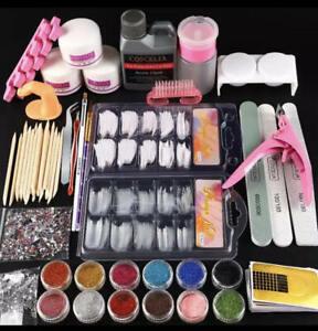 Pro Acrylic Nail Art kit Tools Powder Nail Sticker Pump Nail Brush Set Liquid